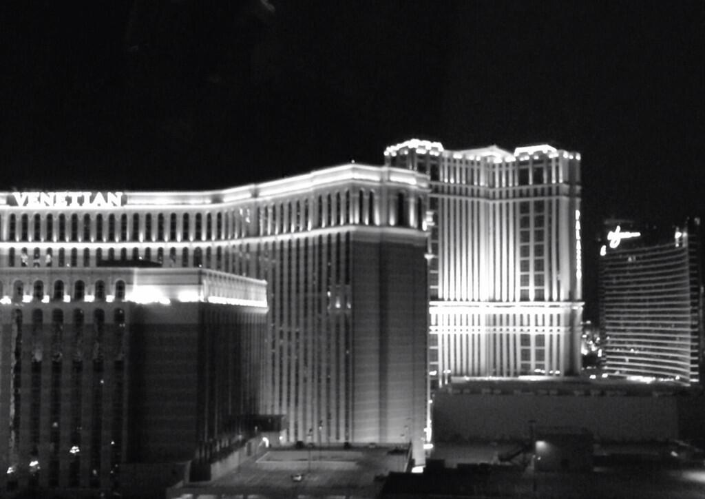 This panoramic view includes (from left) The Venetian, The Palazzo, and Wynn Las Vegas.